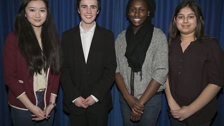 (l-r) Redbridge MYPs Beatrice Long and David Lester with their deputies Jodie Bispham and Sabah Moha