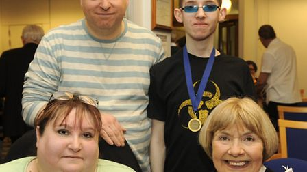 Daniel Pollock (on the right) with his parents on the left and the Mayor, Cllr Lynden Thorpe