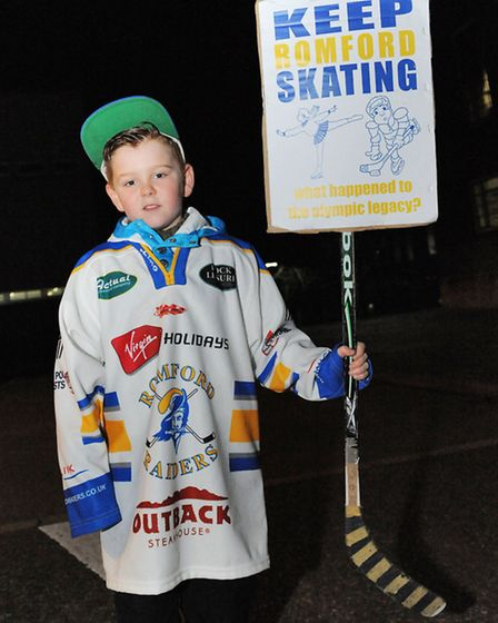 Callum Fidler, aged nine, is part of a club that uses the ice rink three times a week.