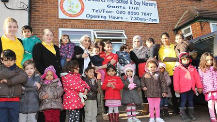 Staff and children at the Fareacres pre-school and day nursery