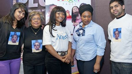 Liesel's mother, Lovia Ofori-Agyemang (third from left) with volunteers at the concert (credit - Dia
