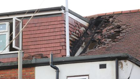 Damage to the roof of the flat in Redbridge Lane East