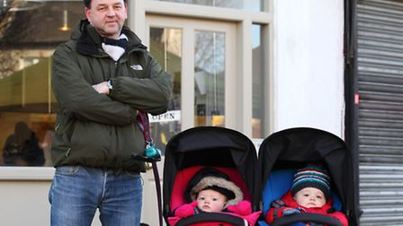Andy Smith with his twins Florence and Samuel.