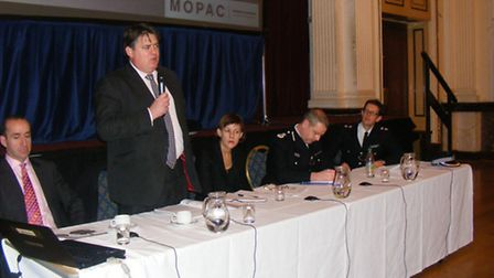 London's Deputy Mayor for Policing and Crime Stephen Greenhalgh addresses police consultation meetin