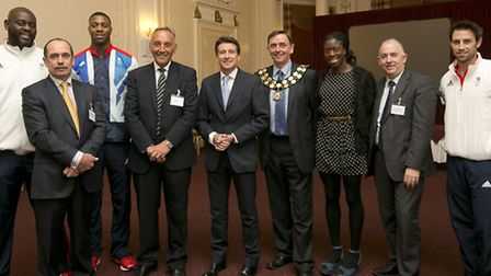 Special guests including Lord Coe and Newham Mayor Sir Robin Wales at the Old Town Hall, Stratford.