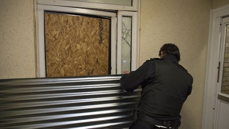 Members of the council enforcement team raid a house linked to anti-social behaviour Picture: Justi