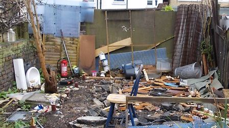 Picture of the slum housing in Tower Hamlets after it was knocked down.