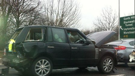One of the vehicles damaged in the crash. Picture: Owen Scott