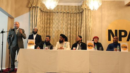 Bradford MP George Galloway speaks at a meeting organised by Newham People's Alliance