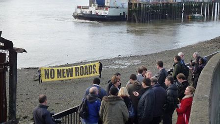 Protesters gathered along the river bank in protest when Newham and Grenwich councils launched their