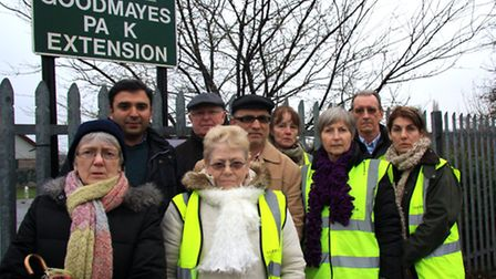 Cllr Ali Hai with residents opposed to the lease of Goodmayes Park Extension. Picture: Pádraig Floyd