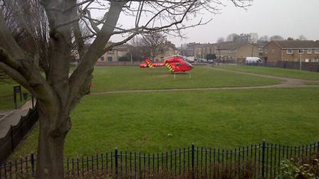 The London Air Ambulance landing near Star Lane in Canning Town. Picture: Dawn Regan via Twitter
