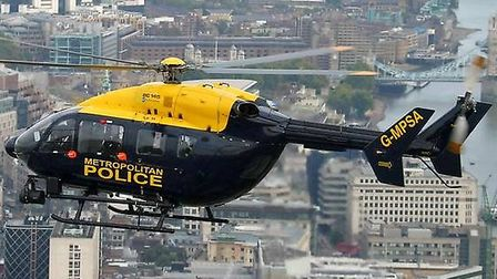 The Met Police helicopter was called in to join the search