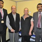 Mr Ezder is pictured with Mr Jacob and Mr Srivastava after making a full recovery.