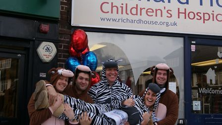 Staff from Tate and Lyle Sugars in East London dressed as monkey's and zebra's fTate and Lyle Sugars