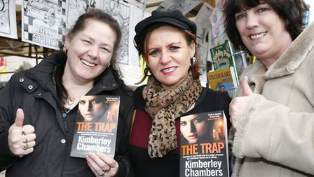 Kimberley Chambers in the middle with her fans Tina Mcguire on the left and Julie Tanner. Picture Sa