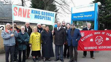 Save King George Hospital campaigners, residents and councillors outside the hospital.