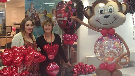 Lucy Hennessy and Kate McAuliffe serving at their Valentine's pop up shop.