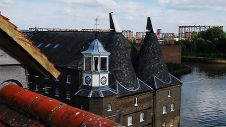 View from the roof of The House Mill, a Grade I listed 18th century tidal mill in Three Mill Lane, B