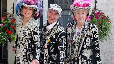 (l-r): Tersea Watts, the Pearly Queen of Clapton; Keith Crowe, the Pearly King of Homerton and Jacki