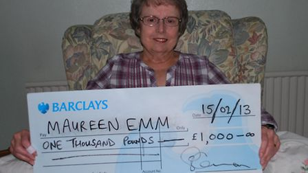 Maureen Emm, from Ingatestone, won £1,000 in the St Francis Hospice lottery.