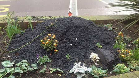 A flower bed in Elm Park broadway planted by Tina Death, destroyed during regeneration work