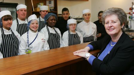 Theresa with some of the catering students