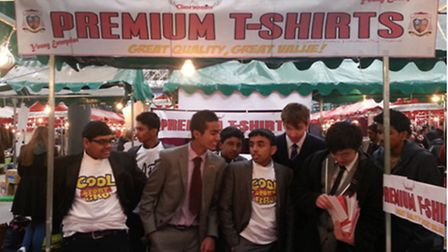 Students from St Bonaventure's RC School selling their wares at Spitalfields Market.