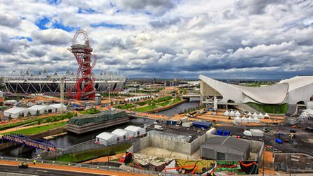 A view of the Olympic Park showing the Stadium, ArcelorMittal Orbit and the Aquatics Centre. Picture