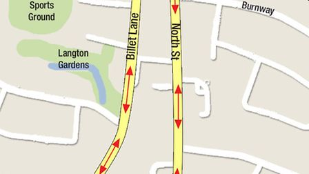 The diversions around Hornchurch High Street from Monday