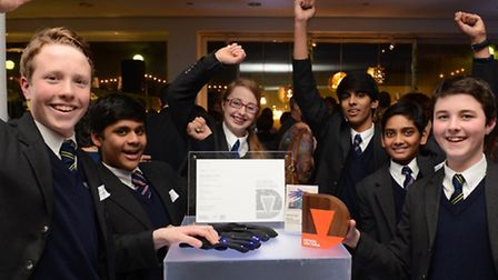 Students from Brentwood School after they won a Virtual Ventura prize for their innovative glow glov