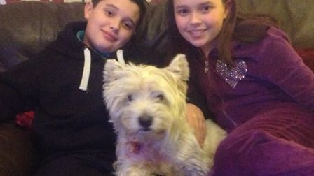 Jack Foster and sister Amelia with pet Freddie
