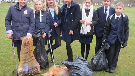 Brentwood County High School pupils were litter picking in Shenfield Common this week.