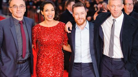 (l-r) Danny Boyle, Rosario Dawson, James McAvoy and Vincent Cassel arriving at the World Premiere of