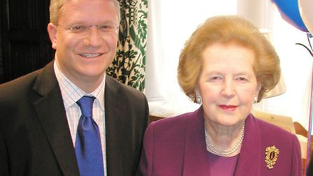 Andrew Rosindell and Margaret Thatcher at the former's 40th birthday party in 2006