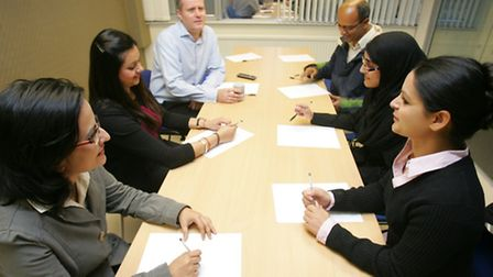 Entrepreneurs in a meeting at the centre