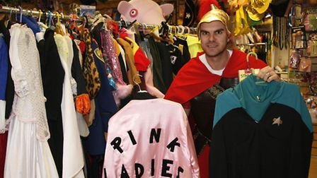 Harlequin Fancy Dress shop owner Paul Massarella with the costumes at his shop. Picture Sandra Rowse