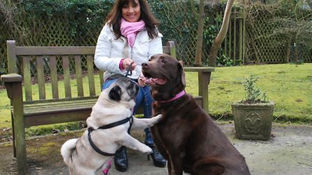 Trica Robinson with dogs Bella and Bailey