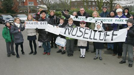 Local residents stage a protest at the sell off of the car park