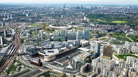 Aerial view showing The International Quarter, part of Stratford City, next to the Olympic Park
