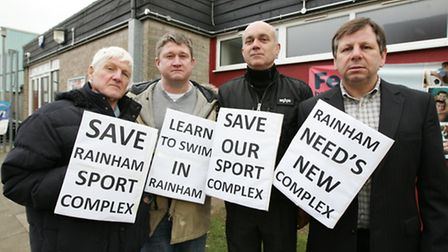 Protesters Patrick Hickey, Brendon Hickey, Sinka Erno, and Cllr Jeffrey Tucker, campaigning against