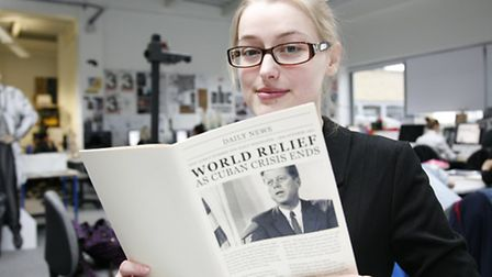 Sarah Scrutton with her work Cuban Missiles. Picture Sandra Rowse.