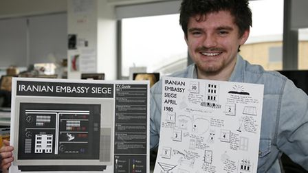James Halliday with his infographic Iranian Embassy Siege. Picture Sandra Rowse.