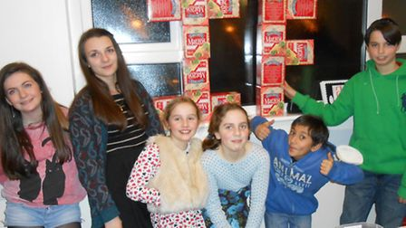 Youngsters from Woodford Liberal Synagogue made an IF display out of matzo boxes, to highlight the