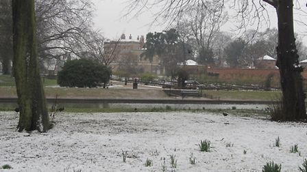 The snow coming back just as spring begins, looking across towards Valentines Mansion. Picture poste