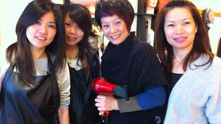 Hairdressers Christine Leong, Jenny Luong, Elaine Yung and Sally Kan