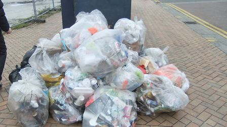 One morning's worth of town centre waste collected in Angel Way, Romford