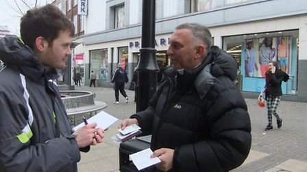 Reporter Ian Weinfass speaking to Cllr Barry Tebbutt in Romford