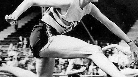 Jean Pickering competing in the 80m hurdles final in the 1952 Helsinki Olympic Games.