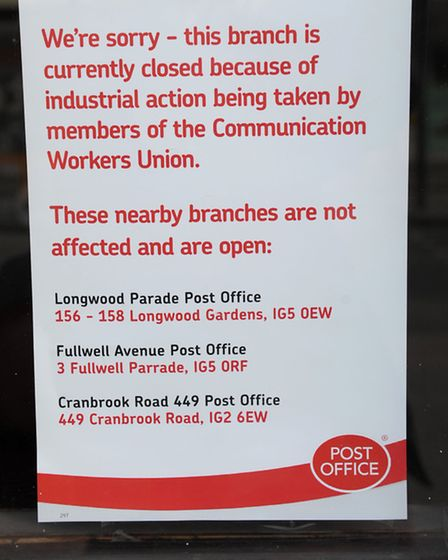 Barkingside Post office closed on Saturday Morning as part of a National Strike by the Communication